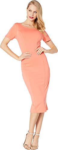 - Unique Vintage Women's Pantone x 1960s Stretch Mod Wiggle Dress Coral Medium