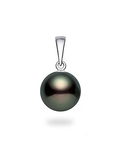 14k White Gold AAAA Quality Black Freshwater Cultured Pearl Pendant (9.5-10mm) (Necklace Pendant Pearl Fw)