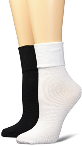 Keds Women's 6 Pack Heavy Weight Turn Cuff Socks, White Assorted, Shoe Size: 4-10 (Women Socks Cuff Turn)