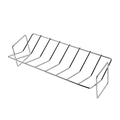 (KAMaster Stainless Steel V Rib Rack Work for Big Green Egg,Primo,Vision, Kamado Ceramic Grills All Indoor Ovens Egg Accessories for Smoker Roasting True Rack Charcoal Cooking)