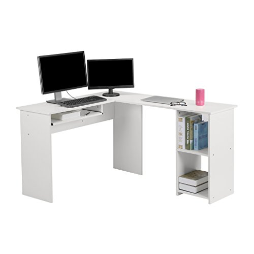 LANGRIA L-Shaped Computer Corner Desk, PC Latop Study Table, Modern Home Office Workstation with Mute Sliding Keyboard Tray and 2-Bookshelf Table, White