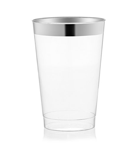 DRINKET Silver Plastic Cups 14 oz Clear Plastic Cups / Tumblers Fancy Plastic Wedding Cups With Silver Rim 50 Ct Disposable For Party Holiday and Occasions SUPER VALUE - Glasses Rim Plastic Clear