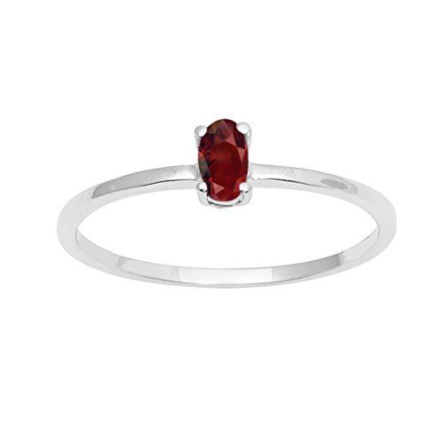 Garnet Stone 925 Sterling Silver Women Wedding Engagement Tiny Ring Stacking Stackable Band (5)