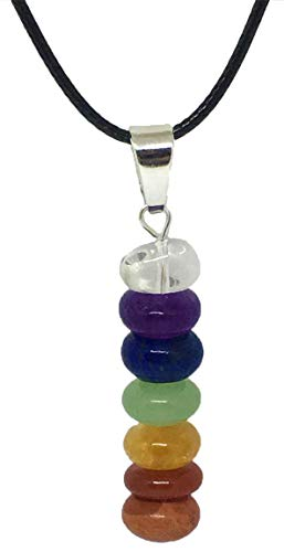 Schmidt Jewelry 7 Stone Chakra Necklace - Natural Stones Pendent - Balance Chakras with Gift ()