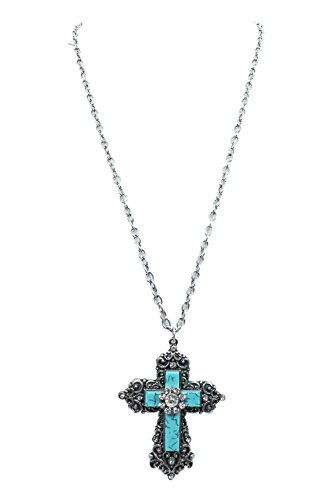 Vintage Western Turquoise Cross with Victorian Metal Ornate Cross (Western Cross Pendants)
