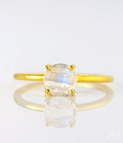 Rainbow Moonstone ring, stackable ring, Vermeil Gold or silver, prong set ring, round ring, June Birthstone ring, Birthday gift, white 6mm round ring