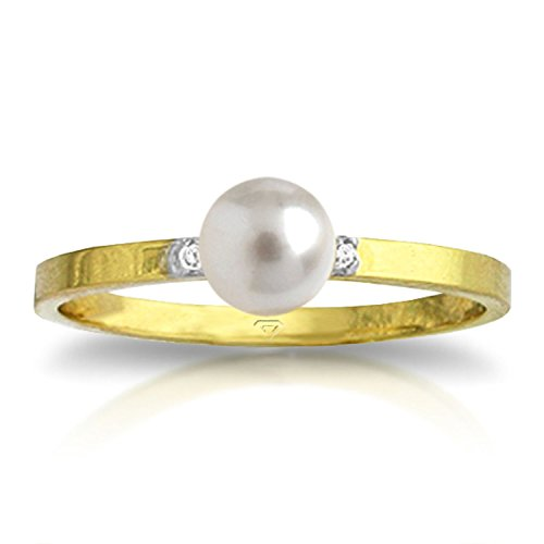 Galaxy Gold 1.02 Carat 14k Solid Gold Ring with Natural Diamonds and Freshwater-cultured Pearl - Size 6 ()