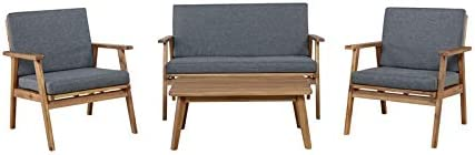 Riverbay Furniture Wood Outdoor Chat Set in Gray
