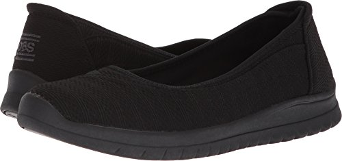 Skimmers Shoes Flats Black (Skechers Bobs from Women's Pureflex3-Stretch Skimmer Ballet Flat, Black/Black, 7.5 M US)
