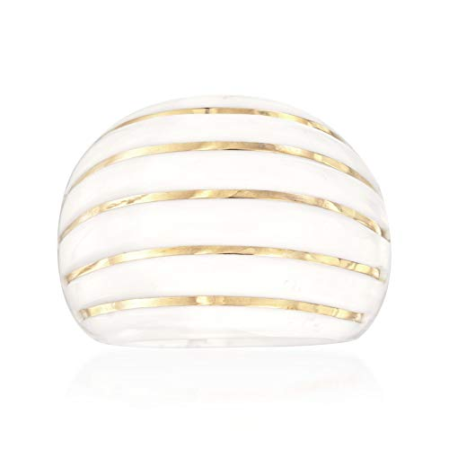 Ross-Simons White Agate Striped Dome Ring With 14kt Yellow Gold
