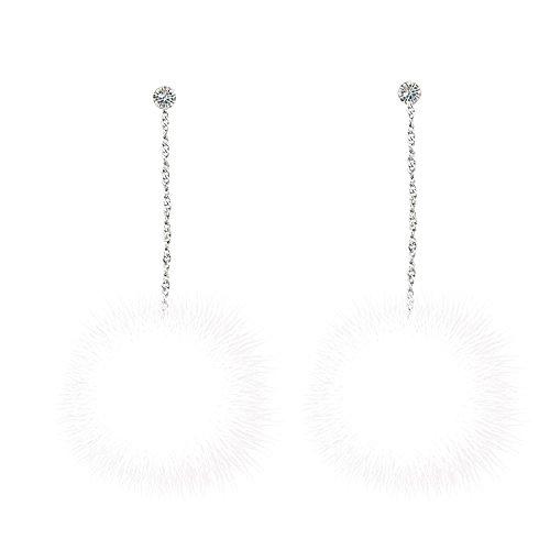 925 Sterling Silver Pom Mink Velvet Fur Ball Dangle Long Drop Earrings ()