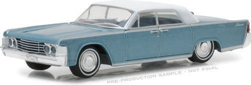 NEW 1:64 GREENLIGHT HOBBY EXCLUSIVE COLLECTION - 1965 Lincoln Continental Convertible Top-Up Huron Blue Diecast Model Car By Greenlight