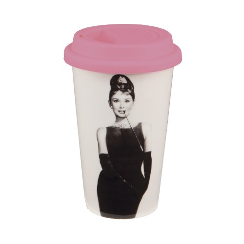Vandor 92051 Audrey Hepburn Breakfast at Tiffany's 12 oz Double Wall Ceramic Travel Mug with Silicone Lid, Pink, Black, and White