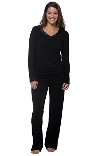 Nouveau Super Soft V-Neck Long Sleeve Top and Full Length Pant Sleep Set,Jet Black Night,2X Plus by Pajama Drama