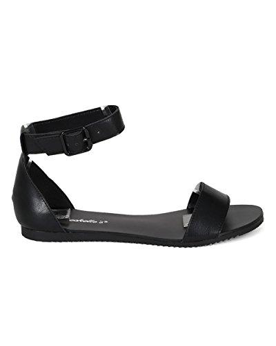 Breckelles CA52 Women Leatherette Open Toe Ankle Strap Flat Sandal - Black (Size: 8.5)