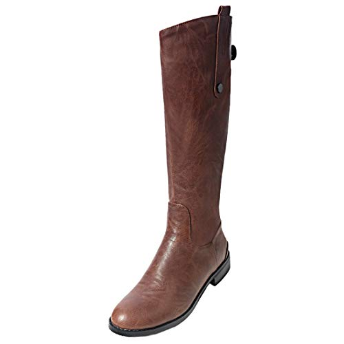 Zip Horse Brown Vitalo High Heel Knee Low Boots Up Calf Riding Ladies Womens Wide pva0qgxwvB