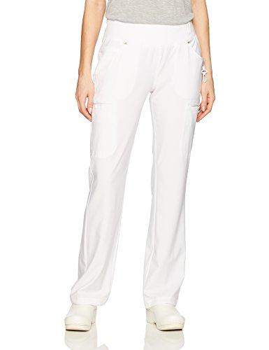 Cherokee Women's iFlex Mid Rise Straight Leg Pull-On Pant,White,2X-Large (Regular Uniform)