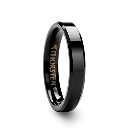 Thorsten Infinity Beveled Edge Black Tungsten Ring 4mm Wide Wedding Band with Custom Inside Engraved Personalized from Roy Rose Jewelry