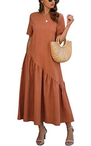 ECOWISH Women Dress Summer Short Sleeve Plain Loose Fit Solid Color Casual Cotton Basic Long Dresses