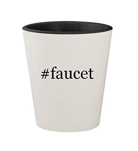 #faucet - Ceramic Hashtag White Outer & Black Inner 1.5oz Shot Glass
