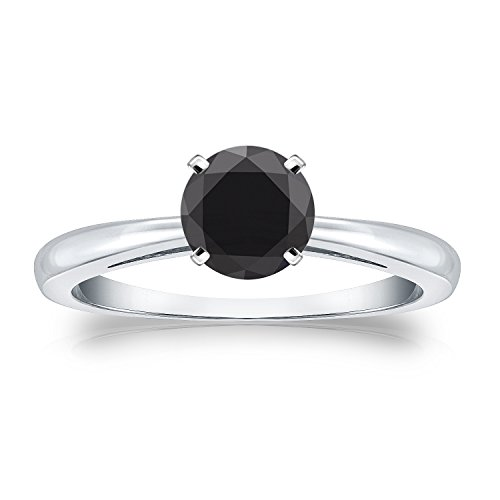18k Gold Round cut Black Diamond 4 Prong Solitaire Ring (1 cttw, Black color)Size 4 9