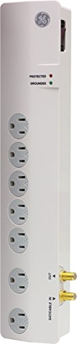Jasco Line Cord - GE 14051 7-Outlet Surge Protector, 4-Ft Cord, White