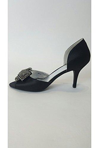 Verdon VT Collection VTL961 Black Satin Shoe with Silver Bow Black