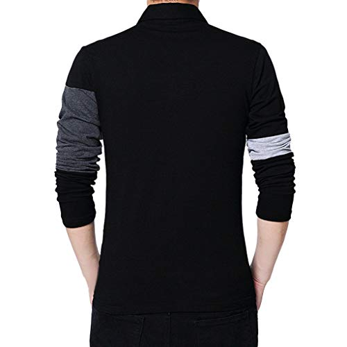 Manga Larga Suéter para Hombre con Cuello Camisa de Punto Sudadera Algodón Top de algodón de Manga Larga Color Block de Camiseta para Hombre riou: ...