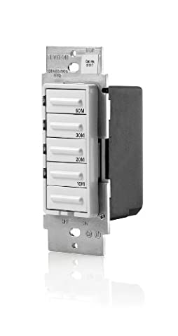 Leviton LTB60-1LZ Decora 1800W Incandescent/20A Resistive-Inductive 1HP Preset 10-20-30-60 Minute Countdown Timer Switch,White/Ivory/Light (3 Function Light Switch)