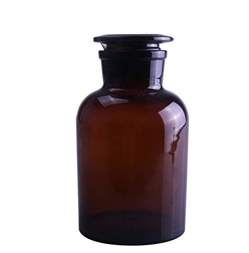 Deschem Lab Amber Glass Reagent Bottle,Wide Mouth,Brown Flask with Ground Stopper