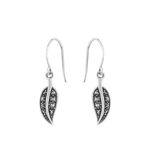 Sterling Silver 0.2ct Marcasite Art Nouveau Drop Earrings