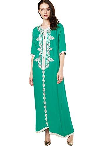 abito donne dubai abiti musulmano per Verde rayon abaya caftano ricamo con jalabiyas islamici lungo xYwqv0Aq