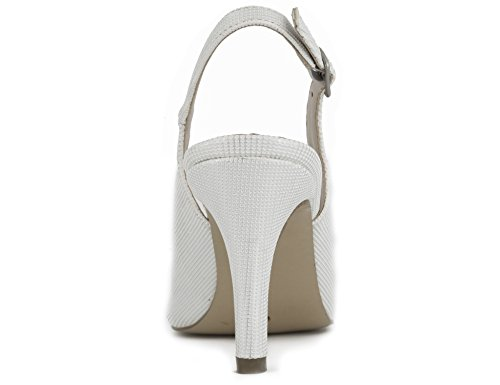 Maxmuxun Femmes Chaussures Point Toe Chaton Talons Slingback Robe Pompes Blanc