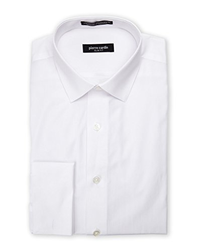 Pierre Cardin Men's 1930FC Slim Fit French Cuff Solid Dress Shirt - White - 17 4-5 (Clothes Cardin Pierre)