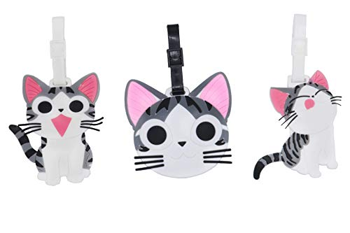 Set of 3 - Super Cute Kawaii Cartoon Silicone Travel Luggage ID Tag for Bags (Cat -