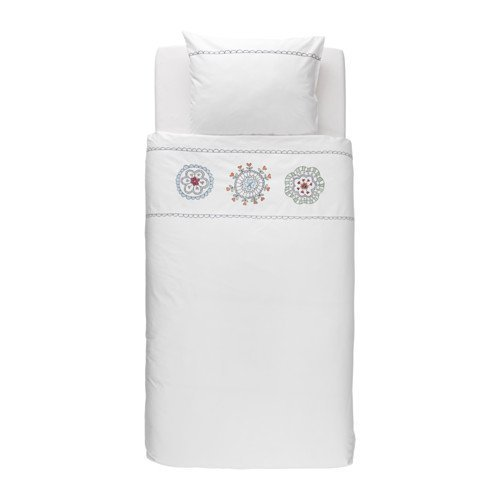 White Embroidery Duvet Cover and Pillowcase Twin Size, Cotton/Lyocell Blend, VANSKAPLIG by IKEA
