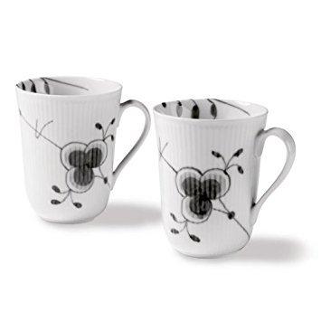 Black Fluted Mega 11 oz. Mug (Set of 2) ()