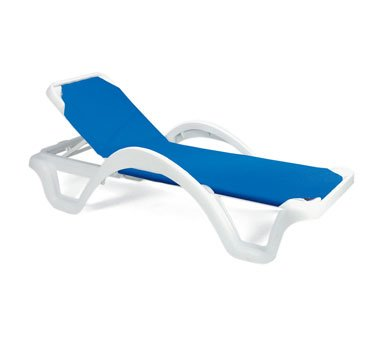 Case of 14 Grosfillex Catalina Stacking Adjustable Resin Sling Chaise - White Frame, Blue Sling