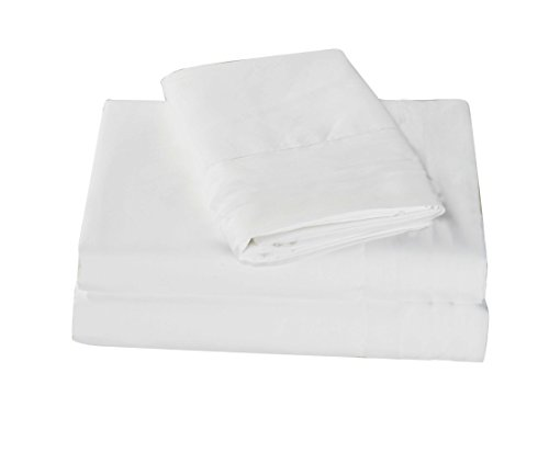 All American Collection New 4 Piece Cozy and Soft Microfiber Solid Sheet Set (Cal King Size, White)