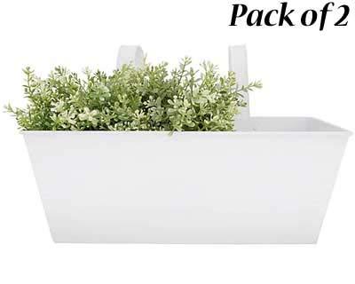 (BestNest Set of 2 Esschert Design Rectangular Balcony Flower Planters, White)