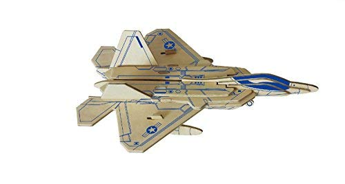 Dlong 3D DIY Assembly Construction Jigsaw Puzzle Handmade Educational Woodcraft Set F22 Raptor Stealth Fighter Plane Wood Model Kit Toy for Adult and Children