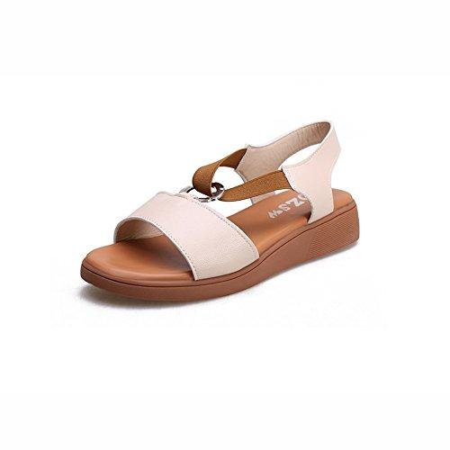 DALL Zapatos de tacón Ly-773 Comodidad De Fondo Plano Zapatos De Mujer Punta Abierta Sandalias Planas Zapatos De Tacón Alto Primavera Y Verano 4 Cm De Alto Beige