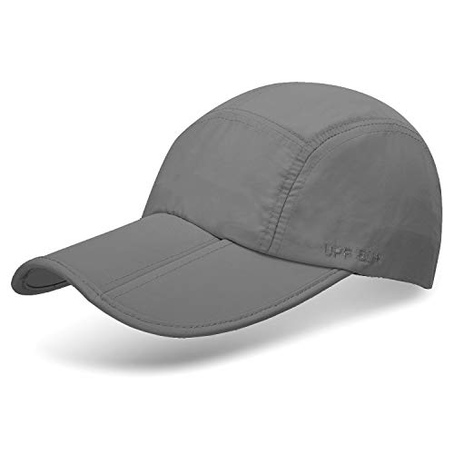 Unisex Foldable UPF 50+ Sun Protection Quick Dry Baseball Cap Portable Hats, Gray