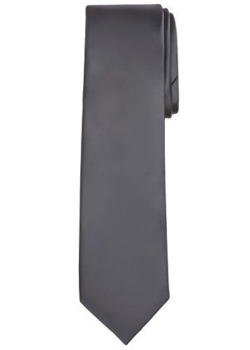 Jacob Alexander Solid Color Men's Regular Tie - Charcoal -