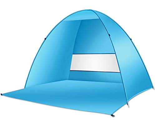 Large Beach Tent UV Pop up Sun Shelter Tents, Big Portable Automatic Sun Umbrella, Waterproof/Windproof Instant Easy Outdoor Cabana, Fit 3-4 Persons for Camping, Hiking, Canopy with Carry Bag ()