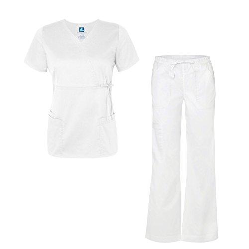 ADAR UNIFORMS Pop-Stretch Junior Fit Women's Scrub Set - Mock Wrap Tie Top and Cargo Pants - 3502 - White - S