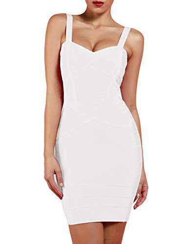 UONBOX Women's Rayon Cute Sleeveless Bodycon Bandage Strap Dress (XL, White-Polyester)