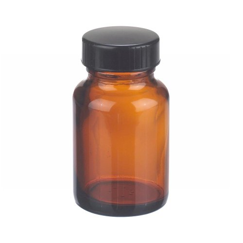 Wheaton W216952 Wide Mouth Packer Bottle, Amber Glass, Capacity 2oz With 33-400 Black Phenolic Poly-Seal Lined Screw Cap, Diameter 44mm x 75mm (Case Of 24) ()
