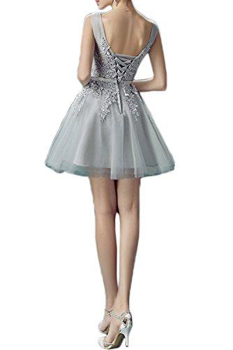 Prom Style Damen Belibet A-Linie Spitze Abendkleider Abschlussball Cocktailkleier Party Kurz