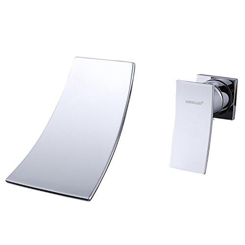 - Sumerain Wall Mount Bathtub Faucet, Waterfall Tub Filler Brass Chrome